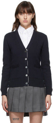 Thom Browne Online Exclusive Navy Milano Stitch Intarsia RWB Stripe Cardigan