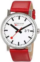 Mondaine Men's Quartz Watch with White Dial Analogue Display and Red Leather Strap A6273030311SBC