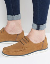Asos Boat Shoes in Tan Suede With White Sole