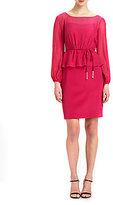 Kay Unger Silk Belted Peplum Dress