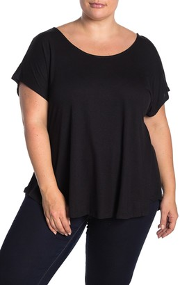 Bobeau Cross Back Short Sleeve Slub T-Shirt (Plus Size)