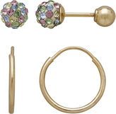 FINE JEWELRY Infinite Gold Kids 14K Yellow Gold Multicolor Crystal-Accent Stud and Hoop 2-pr. Earring Set