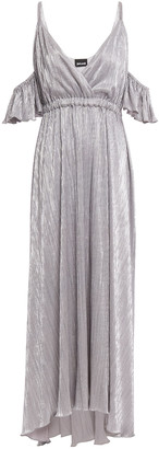 Just Cavalli Cold-shoulder Metallic Plisse-jersey Maxi Dress