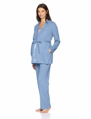 Motherhood Maternity Women's Maternity Satin Trim Cami Robe and Pants Set with Nursing Function