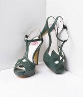 Unique Vintage Forest Green Faux Leather Bettie T-Strap Peep Toe Pump Shoes