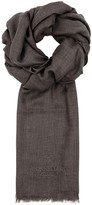 Corneliani Taupe Cashmere And Cotton Blend Scarf