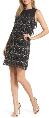 Julia Jordan Sequin Fringe Sheath Dress