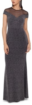Betsy & Adam Illusion Glitter-Knit Gown
