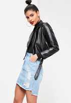 Missguided Stepped Hem Denim Skirt True Bleach Blue