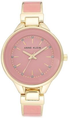 Anne Klein Womens Pink Glitter Semi-Bangle Bracelet Watch