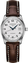 Longines L2.257.4.78.3 Master stainless steel and leather watch