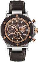 GUESS Men's GC Rose Gold & Brown Leather Timepiece