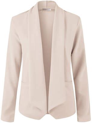 Doublju Women's Non-Denim Casual Jackets TAUPE - Taupe Open-Front Knit Blazer - Women