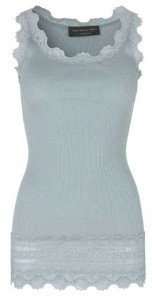 Rosemunde Puritan Grey Silk Cotton Blend With Lace Trim Camisole - XS - Grey