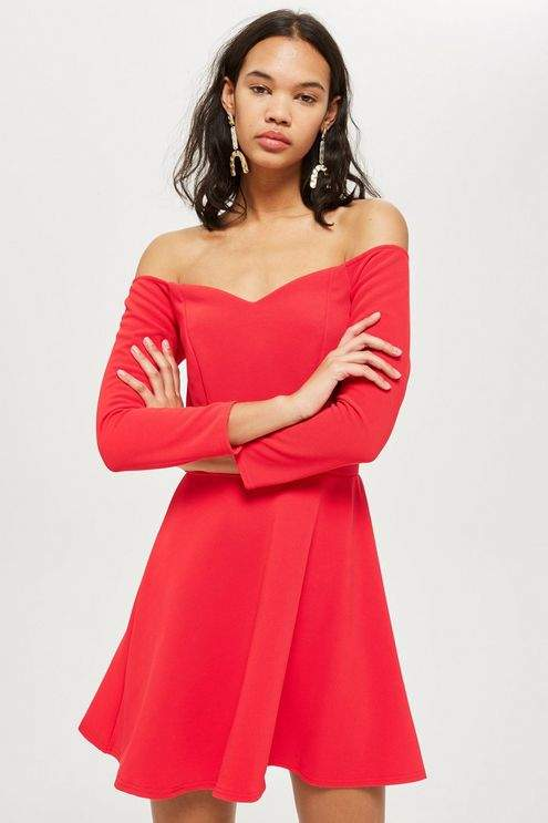 Oh My Love **Long Sleeve Sweetheart Neckline Dress