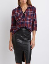 Charlotte Russe Plaid Flannel Button-Up Shirt