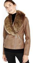 Wallis Faux Fur Collar Biker Jacket, Women's