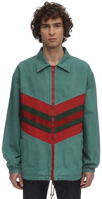 Gucci Intarsio Web Cotton Denim Track Jacket