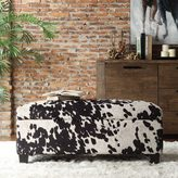 Inspire Q Sauganash Black Cowhide Print Lift Top Storage Bench by