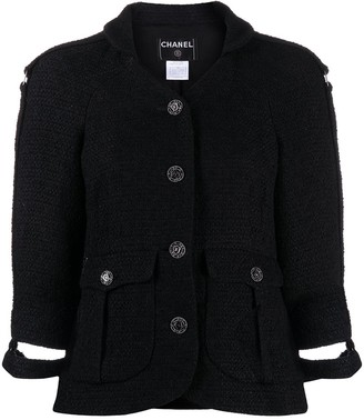 Chanel Pre Owned 2008 Cut-Off Cuffs Tweed Jacket