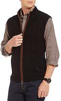 Daniel Cremieux Full-Zip Mockneck Cashmere Cable Sweater Vest