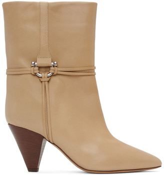 Isabel Marant Beige Leather Lilet Ankle Boots