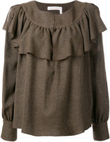 See by Chloe frilled collar knitted top - women - Viscose/Wool - 36