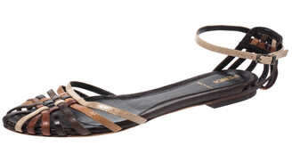Fendi Multicolor Leather Caged Ankle Strap Flats Size 38
