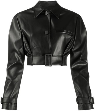 BROGNANO Cropped Faux Leather Jacket