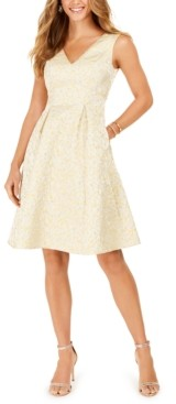 Adrianna Papell Jacquard Pleated Fit & Flare Dress