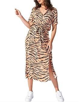 MinkPink Firey Tiger Midi Shirt Dress