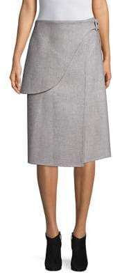 Derek Lam Wool& Mohair Wrap Saddle Skirt