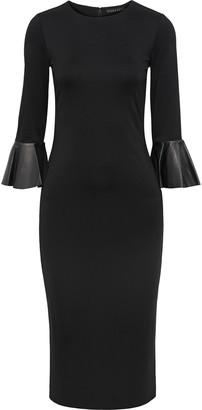 Alice + Olivia Delora Fluted Leather-trimmed Stretch-jersey Midi Dress