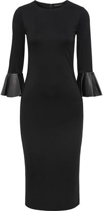 Alice + Olivia Delora Leather-trimmed Stretch-jersey Midi Dress