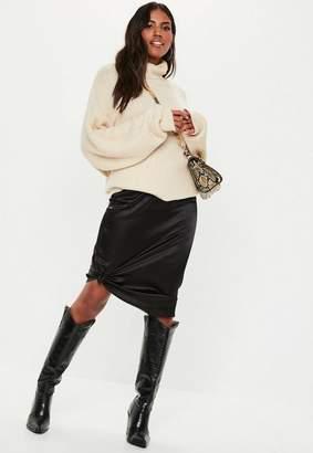 Missguided Black Satin Slip Midi Skirt