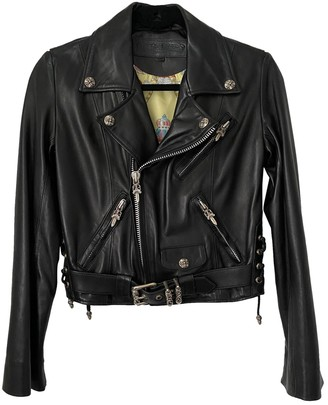Chrome Hearts Black Leather Leather Jacket for Women