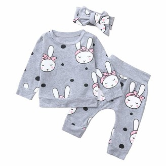 Weant Baby Clothes Girls Clothing Sets for 6-24Months Weant Newborn Baby Clothes Outfits Lovely Rabbit Bunny Prints Long Sleeve Tops + Pants + Headbands 3pcs Clothing Suit for Kids Toddler Infant Baby Outfits Gifts