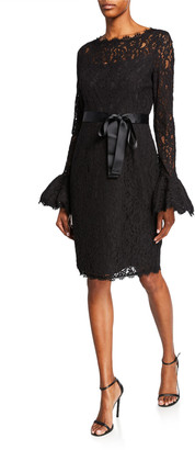 Shani Illusion-Neck Bell-Sleeve Lace Sheath Dress w/ Sash