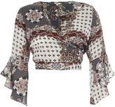 River Island Womens Grey scarf print wrap frill sleeve crop top