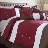 Lavish Home Sarah Red Embroidered Queen Comforter Set (7-Piece)