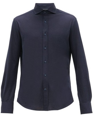 Brunello Cucinelli Slim-fit Silk-blend Jersey Shirt - Mens - Navy