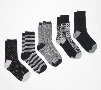 Cuddl Duds Winter Boot Crew Socks Set of 5