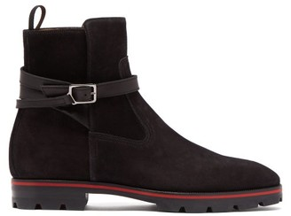 Christian Louboutin Kicko Suede Ankle Boots - Mens - Black