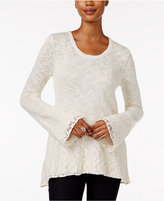 Style&Co. Style & Co. Petite Lace-Hem Bell-Sleeve Sweater, Only at Macy's