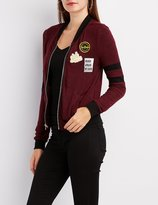 Charlotte Russe Patched Marled Bomber Jacket