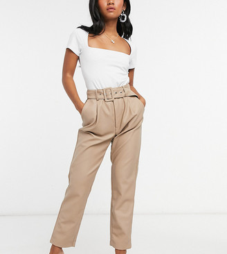 Vila Petite leather look tapered pants with belt in beige