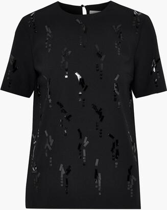 Victoria Victoria Beckham Sequin-embellished Crepe T-shirt