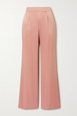 LA COLLECTION Gabriele Silk-satin Wide-leg Pants - Blush