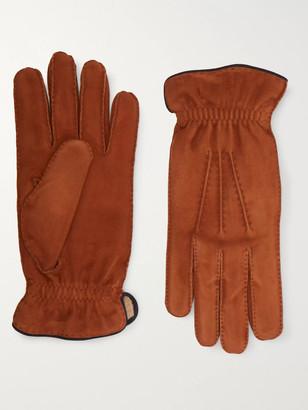 Brunello Cucinelli Cashmere-Lined Suede Gloves - Men - Brown