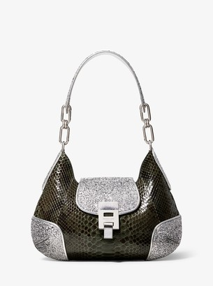 Michael Kors Bancroft Medium Python and Glitter Shoulder Bag